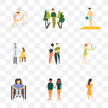 Set Of 9 simple transparency icons such as Woman walking, african young couples, Disabled woman sitting in wheelchair, Ballet dancer, couple, doctor and patient, Man playing ball on the beach,
