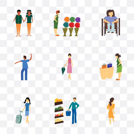 Set Of 9 simple transparency icons such as Woman walking, Man shopping in the store, Fashion female model, woman buying bags, Dancing african girl, Disabled sitting
