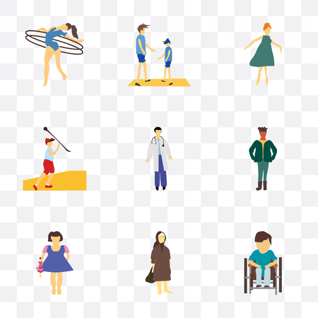 Set Of 9 simple transparency icons such as Disabled man sitting in wheelchair, Elder woman, Kid playing with doll, standing African man, Man doctor, Javelin throwing athlete, Girl dancing, Young