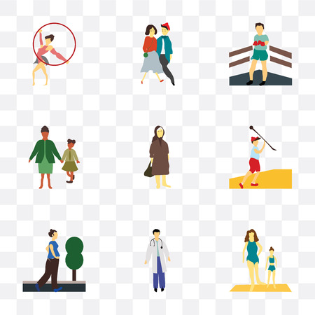 Set Of 9 simple transparency icons such as Girls exercising, Man doctor, running woman, Javelin throwing athlete, Elder family, Boxer, young couple, Girl gymnastics, can be used for mobile,