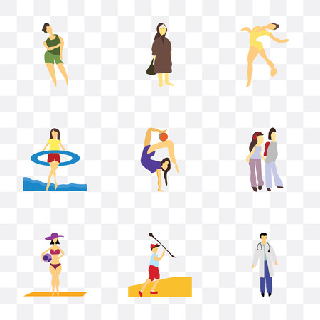 Set Of 9 simple transparency icons such as Man doctor, Javelin throwing athlete, Girl with ball on the beach, young couple, gymnastics, Gymnastics girl in sea, Elder woman, Vectores