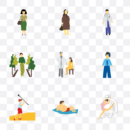 Set Of 9 simple transparency icons such as rhythmic gymnastics, Man on the beach, Javelin throwing athlete, student boy with headset, doctor and patient, fashion model, doctor, Elder woman,