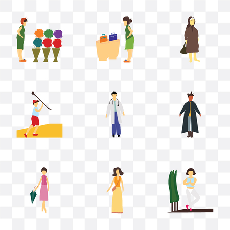 Set Of 9 simple transparency icons such as Girl practicing yoga, Fashion female model, standing African man, Man doctor, Javelin throwing athlete, Elder woman, woman buying