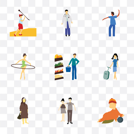 Set Of 9 simple transparency icons such as baby playing with ball, young couple, Elder woman, Fashion female model, Man shopping in the store, girl hoop, Dancing african girl, doctor,