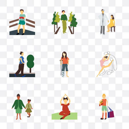 Set Of 9 simple transparency icons such as girl with shopping bag, Woman practicing yoga, family, rhythmic gymnastics, disabled woman, running doctor and patient, fashion model, Boxer, can be Иллюстрация