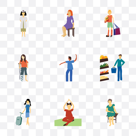 Set Of 9 simple transparency icons such as Pretty woman sitting, Woman practicing yoga, Fashion female model, Man shopping in the store, Dancing african girl, disabled woman, girl with bag,