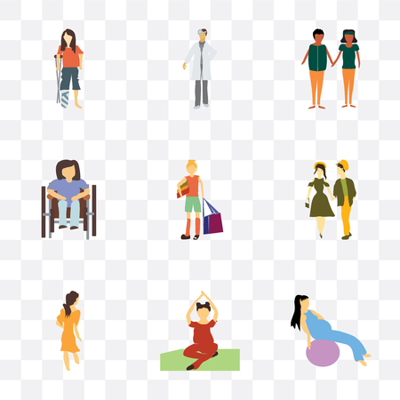 Set Of 9 simple transparency icons such as Girl working out with fitness ball, Woman practicing yoga, walking, young couple, girl shopping bag, Disabled woman sitting in wheelchair,