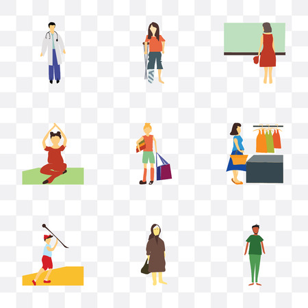 Set Of 9 simple transparency icons such as African man, Elder woman, Javelin throwing athlete, woman buying clothings, girl with shopping bag, Woman practicing yoga, standing, disabled