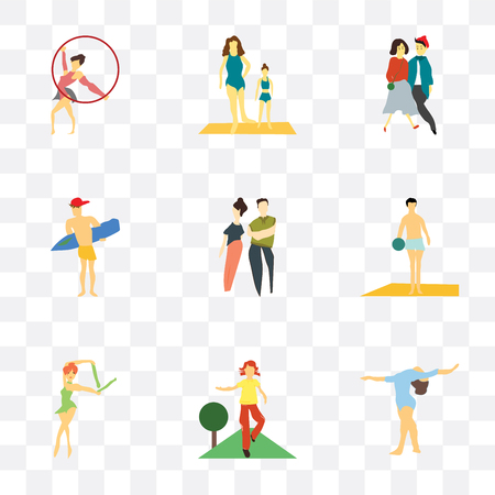Set Of 9 simple transparency icons such as Girl gymnastics, doing fitness exercises, Ballet dancer, Man playing ball on the beach, young couple, surfing, Girls exercising, Vettoriali