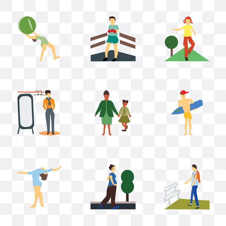 Set Of 9 simple transparency icons such as Student walking, running woman, Girl gymnastics, Man surfing, family, fashion boy looking to the mirror, doing fitness exercises, Boxer,
