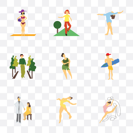 Set Of 9 simple transparency icons such as rhythmic gymnastics, Girl doctor and patient, Man surfing, Woman, fashion model, doing fitness exercises, with ball