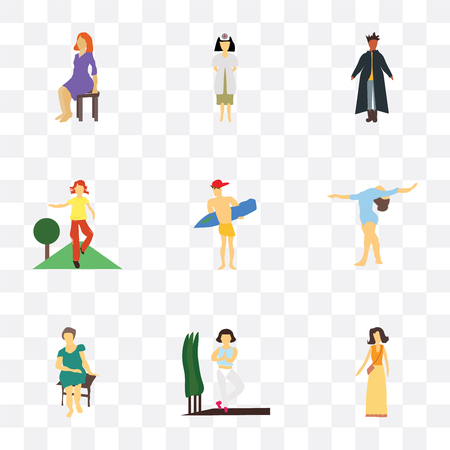 Set Of 9 simple transparency icons such as Fashion female model, Girl practicing yoga, Pretty woman sitting, gymnastics, Man surfing, doing fitness exercises, standing African man, Woman