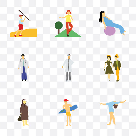 Set Of 9 simple transparency icons such as Girl gymnastics, Man surfing, Elder woman, young couple, doctor, working out with fitness ball, doing exercises, Javelin Vettoriali