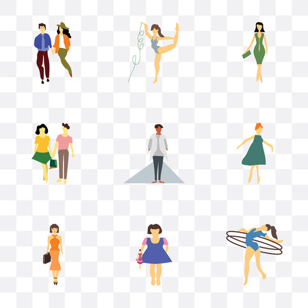 Set Of 9 simple transparency icons such as girl hula hoop, Kid playing with doll, Fashion female model, Girl dancing, African white dress, young couple, rhythmic