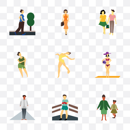 Set Of 9 simple transparency icons such as family, Boxer, African girl with white dress, Girl ball on the beach, gymnastics, Woman, young couple, Fashion female model, running woman, can be Illustration