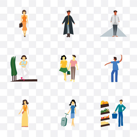 Set Of 9 simple transparency icons such as Man shopping in the store, Fashion female model, Dancing african girl, young couple, Girl practicing yoga, African girl with white Illustration