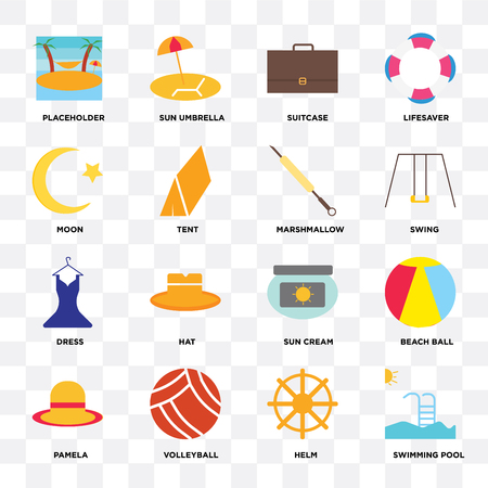 Set Of 16 icons such as Swimming pool, Helm, Volleyball, Pamela, Beach ball, Placeholder, Moon, Dress, Marshmallow on transparent background, pixel perfect