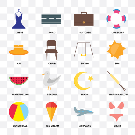 Set Of 16 icons such as Bikini, Airplane, Ice cream, Beach ball, Marshmallow, Dress, Hat, Watermelon, Swing on transparent background, pixel perfect Vectores