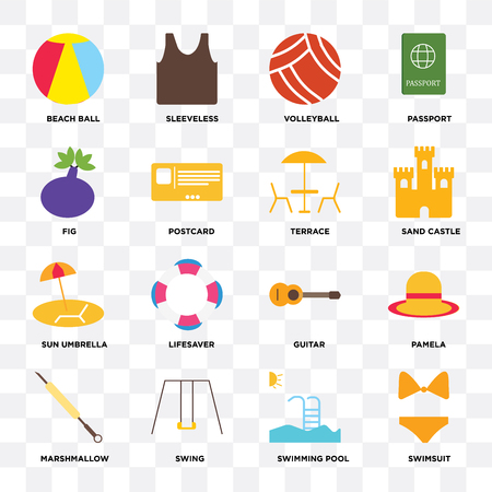 Set Of 16 icons such as Swimsuit, Swimming pool, Swing, Marshmallow, Pamela, Beach ball, Fig, Sun umbrella, Terrace on transparent background, pixel perfect Vectores