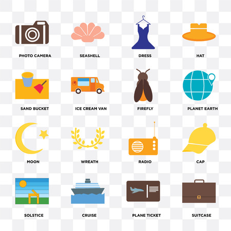 Set Of 16 icons such as Suitcase, Plane ticket, Cruise, Solstice, Cap, Photo camera, Sand bucket, Moon, Firefly on transparent background, pixel perfect