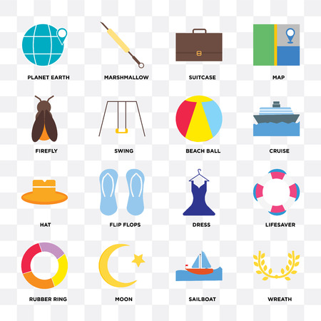 Set Of 16 icons such as Wreath, Sailboat, Moon, Rubber ring, Lifesaver, Planet earth, Firefly, Hat, Beach ball on transparent background, pixel perfect