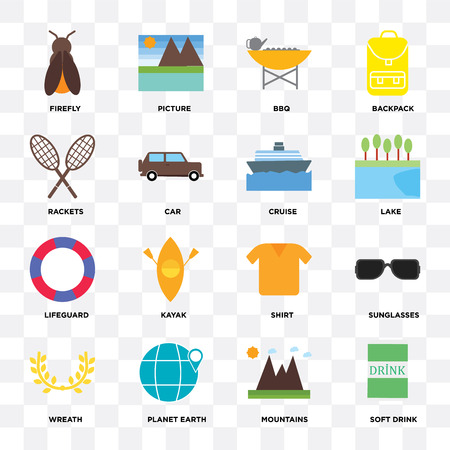 Set Of 16 icons such as Soft drink, Mountains, Planet earth, Wreath, Sunglasses, Firefly, Rackets, Lifeguard, Cruise on transparent background, pixel perfect Ilustração