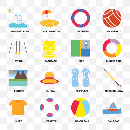 Set Of 16 icons such as Sailboat, Beach ball, Lifesaver, Shirt, Marshmallow, Swimming pool, Swing, Picture, Map on transparent background, pixel perfect Vectores