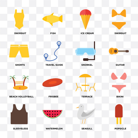Set Of 16 icons such as Popsicle, Seagull, Watermelon, Sleeveless, Bikini, Swimsuit, Shorts, Beach volleyball, Snorkel on transparent background, pixel perfect