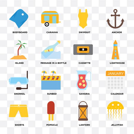 Set Of 16 icons such as Jellyfish, Lantern, Popsicle, Shorts, Calendar, Bodyboard, Island, Snorkel, Cassette on transparent background, pixel perfect
