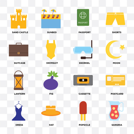 Set Of 16 icons such as Sangria, Popsicle, Hat, Dress, Postcard, Sand castle, Suitcase, Lantern, Snorkel on transparent background, pixel perfect