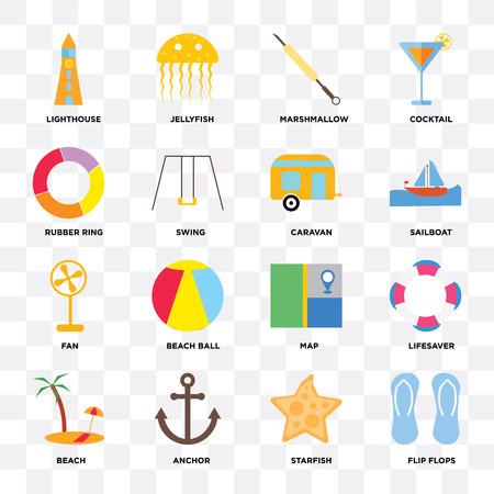 Set Of 16 icons such as Flip flops, Starfish, Anchor, Beach, Lifesaver, Lighthouse, Rubber ring, Fan, Caravan on transparent background, pixel perfect
