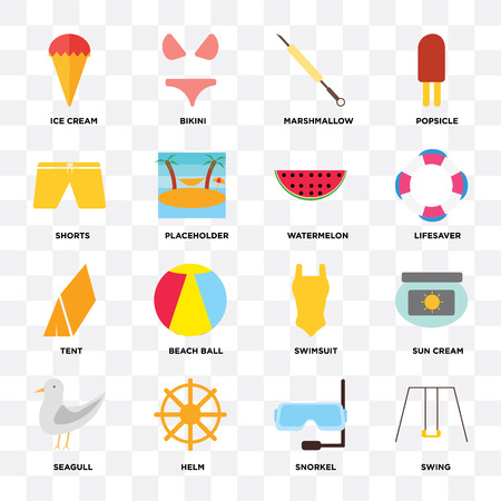 Set Of 16 icons such as Swing, Snorkel, Helm, Seagull, Sun cream, Ice Shorts, Tent, Watermelon on transparent background, pixel perfect