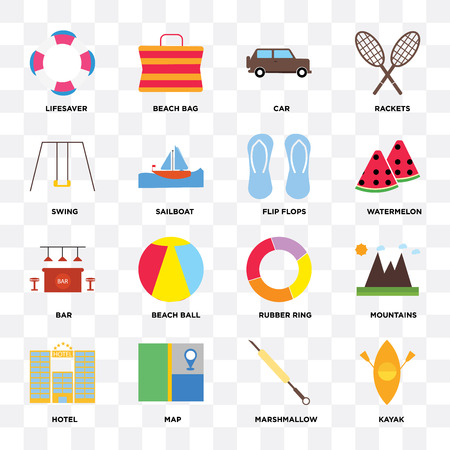 Set Of 16 icons such as Kayak, Marshmallow, Map, Hotel, Mountains, Lifesaver, Swing, Bar, Flip flops on transparent background, pixel perfect Vectores