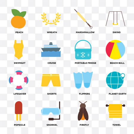 Set Of 16 icons such as Towel, Firefly, Snorkel, Popsicle, Planet earth, Peach, Swimsuit, Lifesaver, Portable fridge on transparent background, pixel perfect