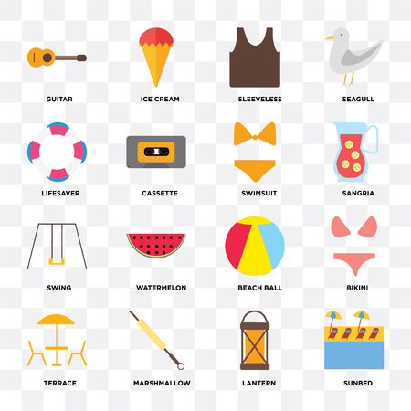Set Of 16 icons such as Sunbed, Lantern, Marshmallow, Terrace, Bikini, Guitar, Lifesaver, Swing, Swimsuit on transparent background, pixel perfect