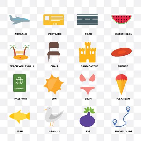 Set van 16 pictogrammen zoals reisgids, vijg, zeemeeuw, vis, ijs, vliegtuig, beachvolleybal, paspoort, zandkasteel op transparante achtergrond, pixel perfect