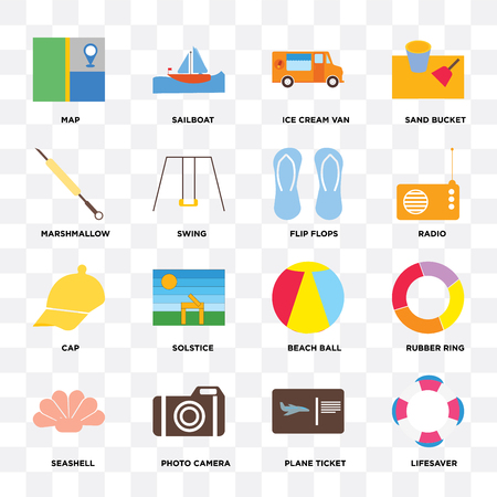 Set Of 16 icons such as Lifesaver, Plane ticket, Photo camera, Seashell, Rubber ring, Map, Marshmallow, Cap, Flip flops on transparent background, pixel perfect Vectores