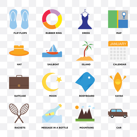 Set Of 16 icons such as Car, Mountains, Message in a bottle, Rackets, Kayak, Flip flops, Hat, Suitcase, Island on transparent background, pixel perfect Çizim