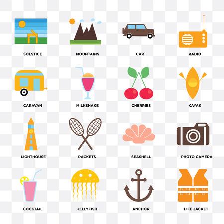 Set van 16 iconen zoals reddingsvest, anker, kwal, cocktail, fotocamera, zonnewende, caravan, vuurtoren, kersen op transparante achtergrond, pixel perfect