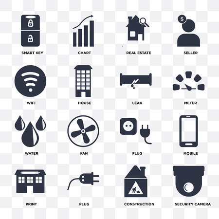 Set Of 16 icons such as Security camera, Construction, Plug, print, Mobile, Smart key, Wifi, Water, Leak on transparent background, pixel perfect Vetores