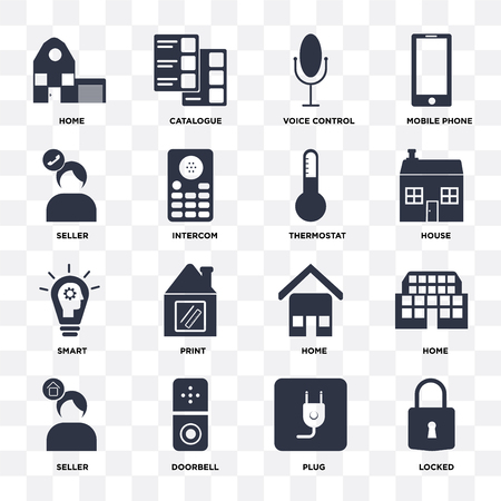 Set Of 16 icons such as Locked, Plug, Doorbell, Seller, Home, Smart, Thermostat on transparent background, pixel perfect