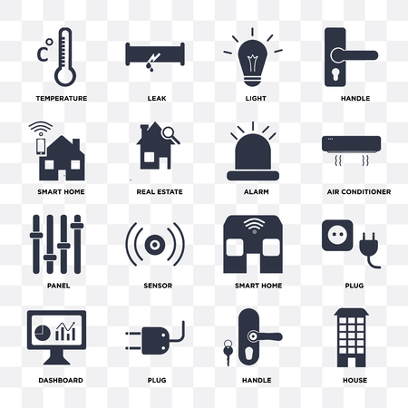 Set Of 16 icons such as House, Handle, Plug, Dashboard, Temperature, Smart home, Panel, Alarm on transparent background, pixel perfect