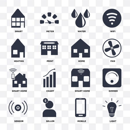 Set Of 16 icons such as Light, Mobile, Seller, Sensor, Dimmer, Smart, Heating, Smart home, Home on transparent background, pixel perfect Vetores