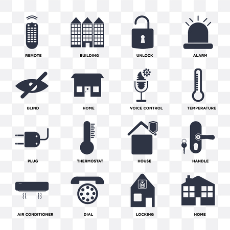 Set Of 16 icons such as Home, Locking, Dial, Air conditioner, Handle, Remote, Blind, Plug, Voice control on transparent background, pixel perfect