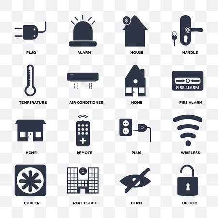 Set Of 16 icons such as Unlock, Blind, Real estate, Cooler, Wireless, Plug, Temperature, Home on transparent background, pixel perfect