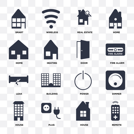 Set Of 16 icons such as Remote, House, Plug, Dimmer, Smart, Home, Leak, Door on transparent background, pixel perfect