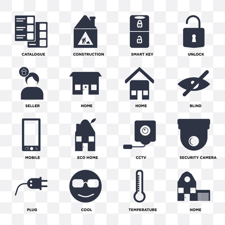 Set Of 16 icons such as Home, Temperature, Cool, Plug, Security camera, Catalogue, Seller, Mobile on transparent background, pixel perfect Vetores