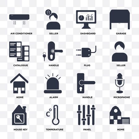 Set Of 16 icons such as Home, Panel, Temperature, House key, Microphone, Air conditioner, Catalogue, Plug on transparent background, pixel perfect Ilustração
