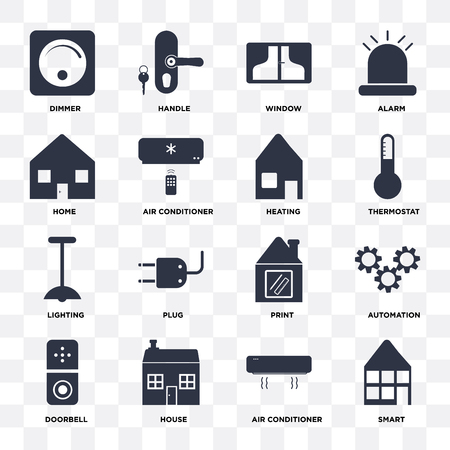 Set Of 16 icons such as Smart, Air conditioner, House, Doorbell, Automation, Dimmer, Home, Lighting, Heating on transparent background, pixel perfect