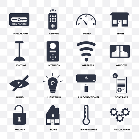 Set Of 16 icons such as Automation, Temperature, Home, Unlock, Contract, Fire alarm, Lighting, Blind, Wireless on transparent background, pixel perfect